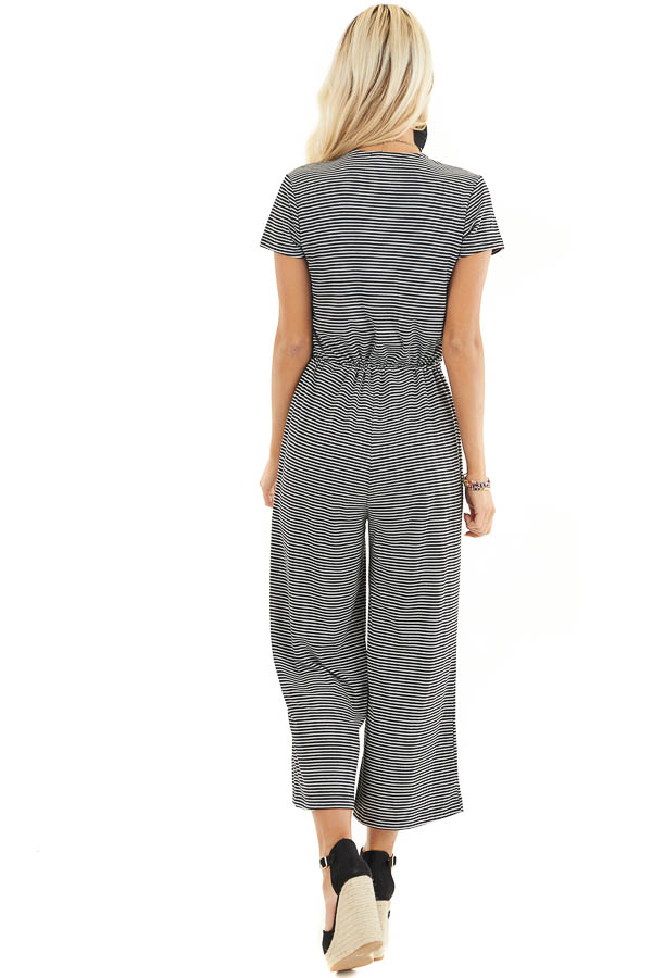 Black and White Striped Surplice Jumpsuit with Waist Tie back full body