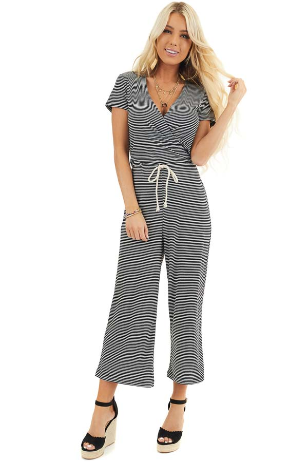 Black and White Striped Surplice Jumpsuit with Waist Tie front full body