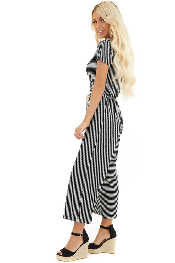 Black and White Striped Surplice Jumpsuit with Waist Tie side full body