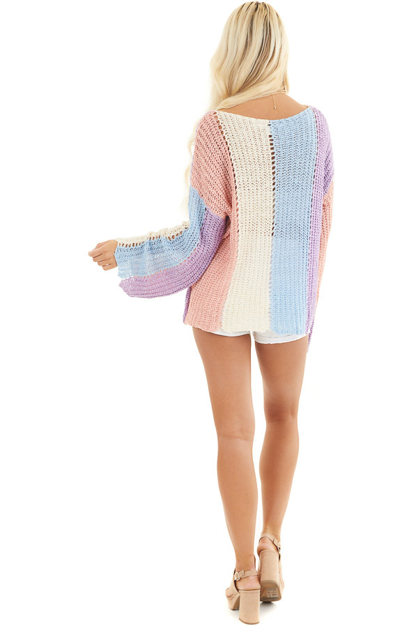 Salmon and Blue Striped Knit Sweater Top with Flare Sleeves back full body