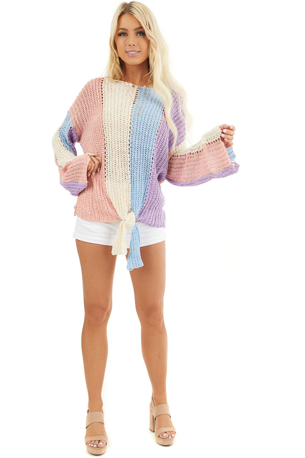 Salmon and Blue Striped Knit Sweater Top with Flare Sleeves front full body