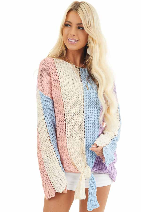 Salmon and Blue Striped Knit Sweater Top with Flare Sleeves front close up