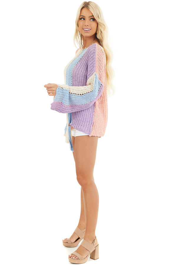 Salmon and Blue Striped Knit Sweater Top with Flare Sleeves side full body