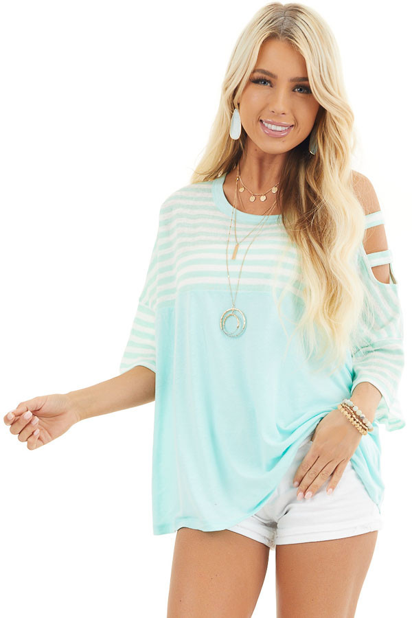 Mint Striped Knit Top with Ladder Cutout Short Sleeves front close up