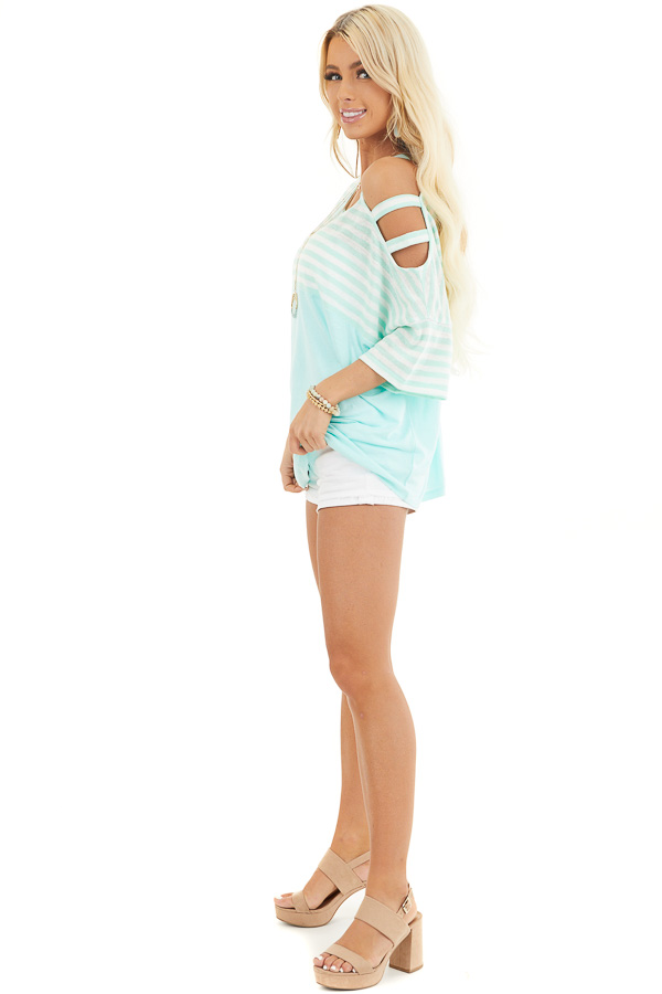 Mint Striped Knit Top with Ladder Cutout Short Sleeves side full body