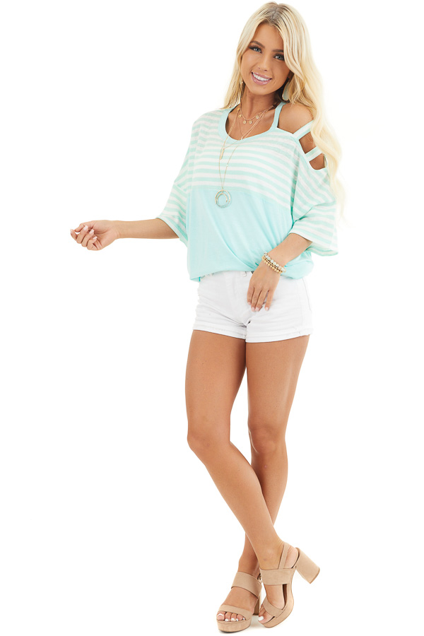 Mint Striped Knit Top with Ladder Cutout Short Sleeves front full body