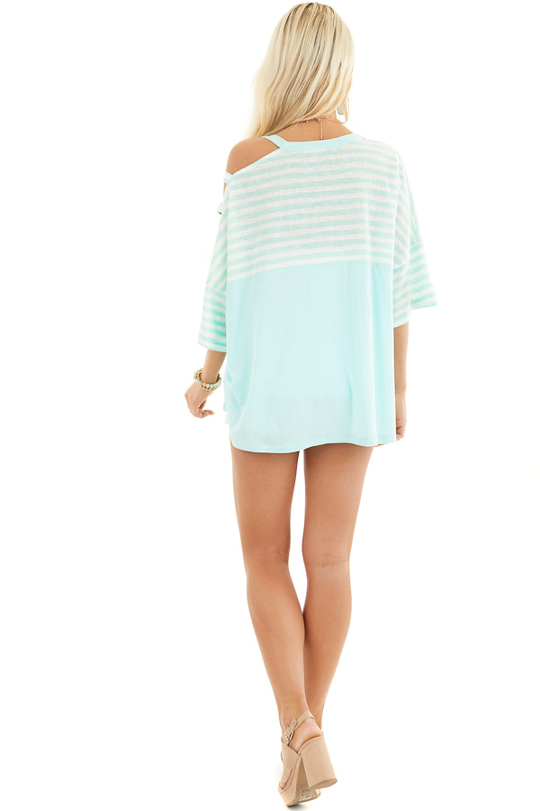 Mint Striped Knit Top with Ladder Cutout Short Sleeves back full body