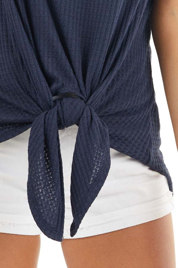 Navy Off the Shoulder Waffle Knit Top with Front Tie detail