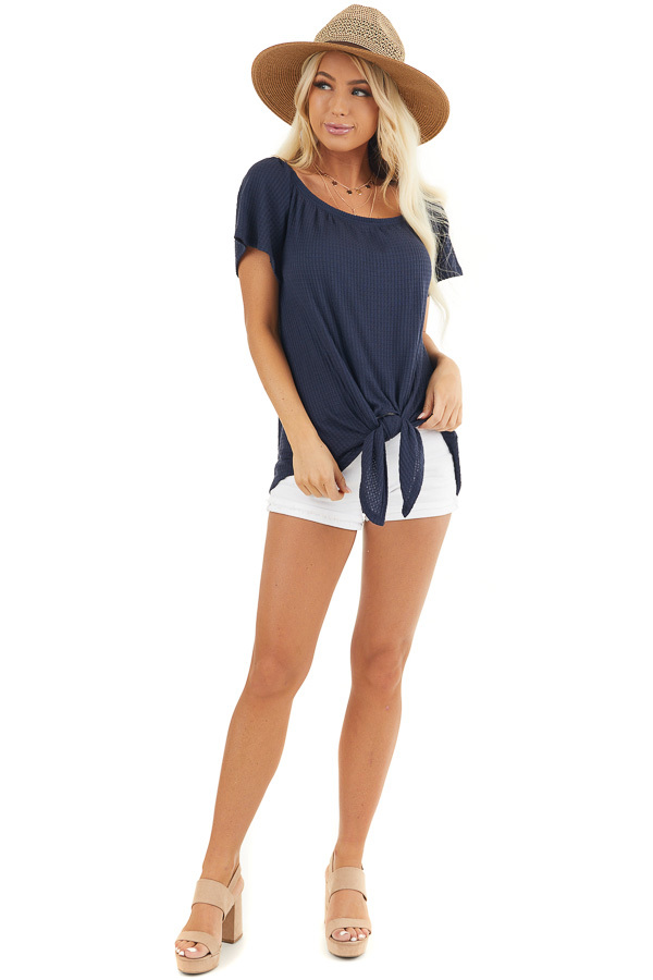 Navy Off the Shoulder Waffle Knit Top with Front Tie front full body
