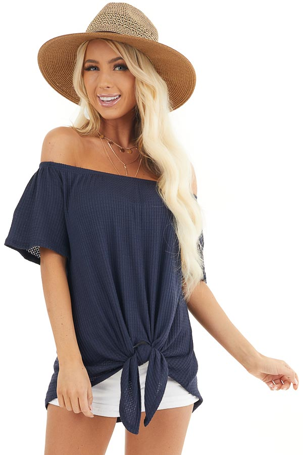 Navy Off the Shoulder Waffle Knit Top with Front Tie front close up