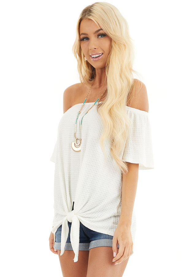 Ivory Off the Shoulder Waffle Knit Top with Front Tie front close up