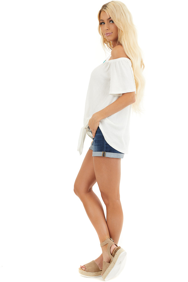 Ivory Off the Shoulder Waffle Knit Top with Front Tie side full body