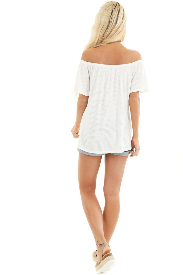 Ivory Off the Shoulder Waffle Knit Top with Front Tie back full body