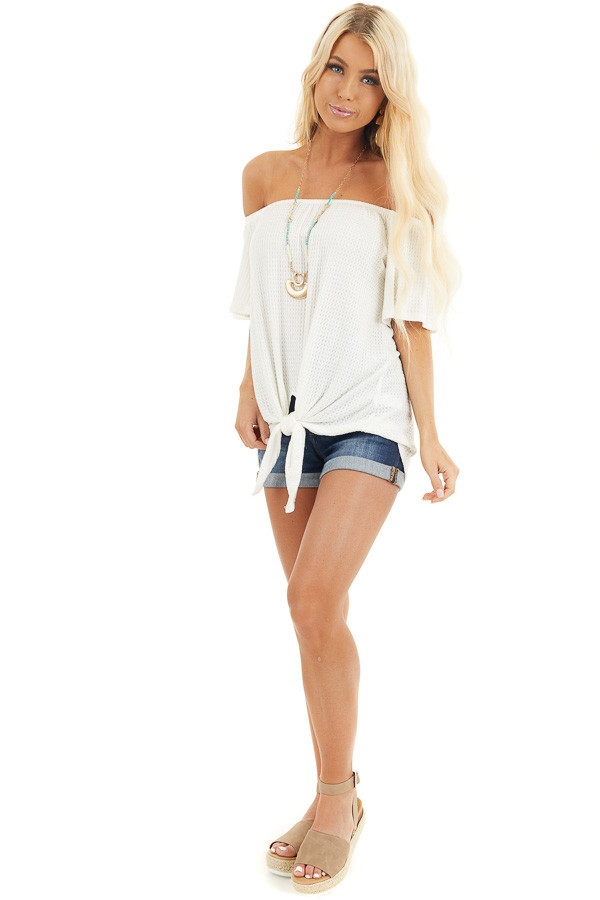 Ivory Off the Shoulder Waffle Knit Top with Front Tie front full body