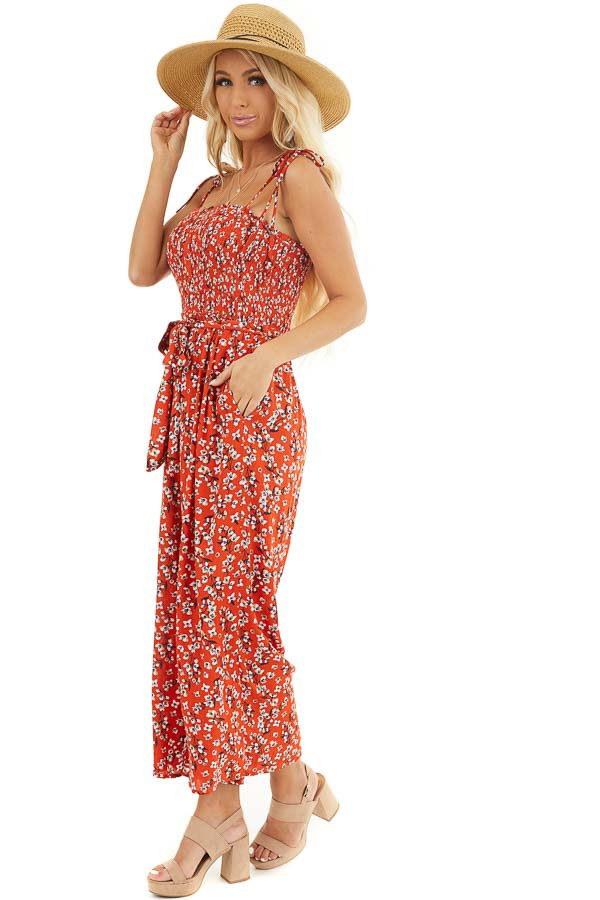 Tomato Red Floral Spaghetti Strap Jumpsuit with Waist Tie front full body