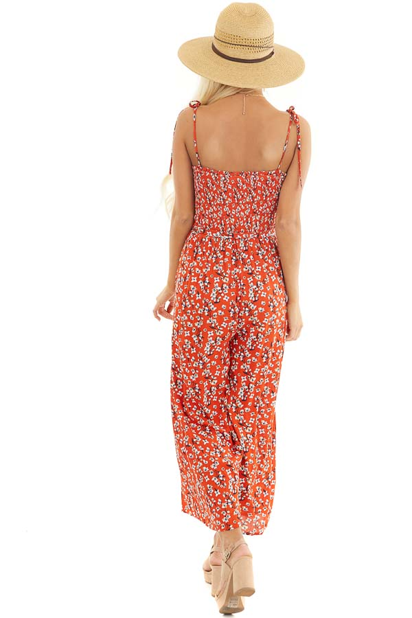 Tomato Red Floral Spaghetti Strap Jumpsuit with Waist Tie back full body