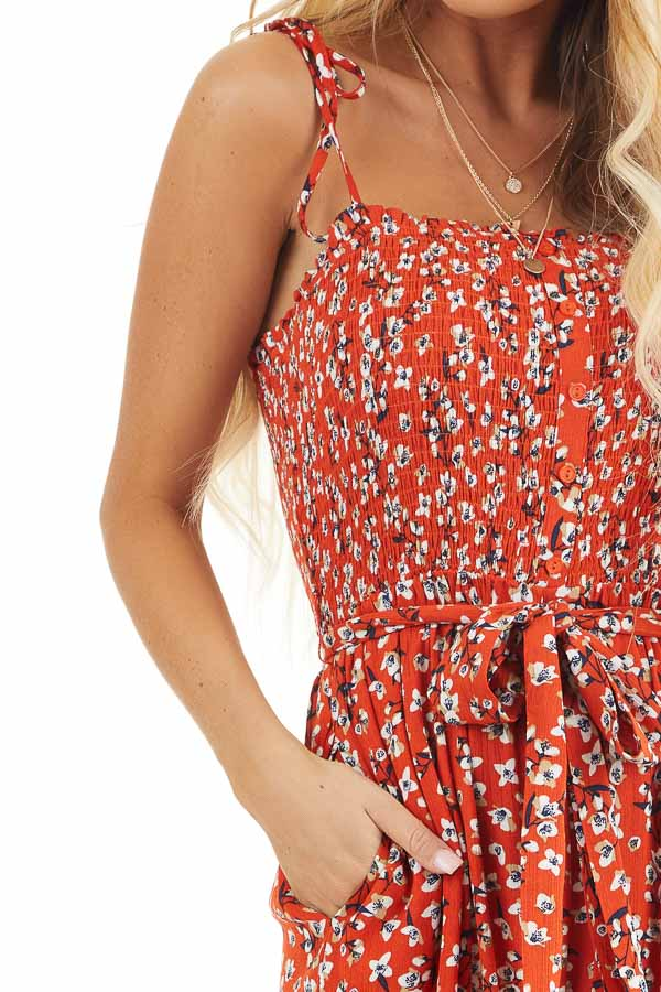 Tomato Red Floral Spaghetti Strap Jumpsuit with Waist Tie detail
