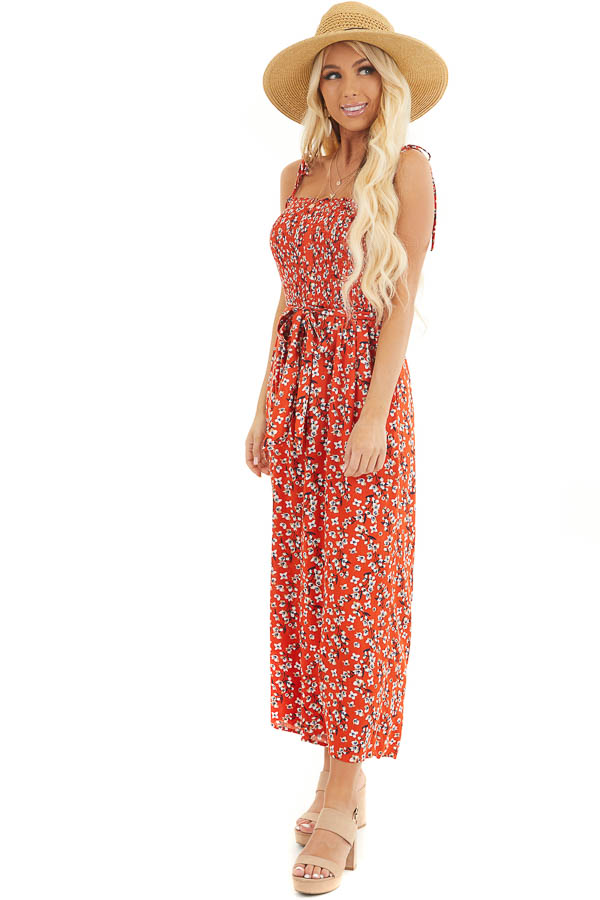 Tomato Red Floral Spaghetti Strap Jumpsuit with Waist Tie side full body