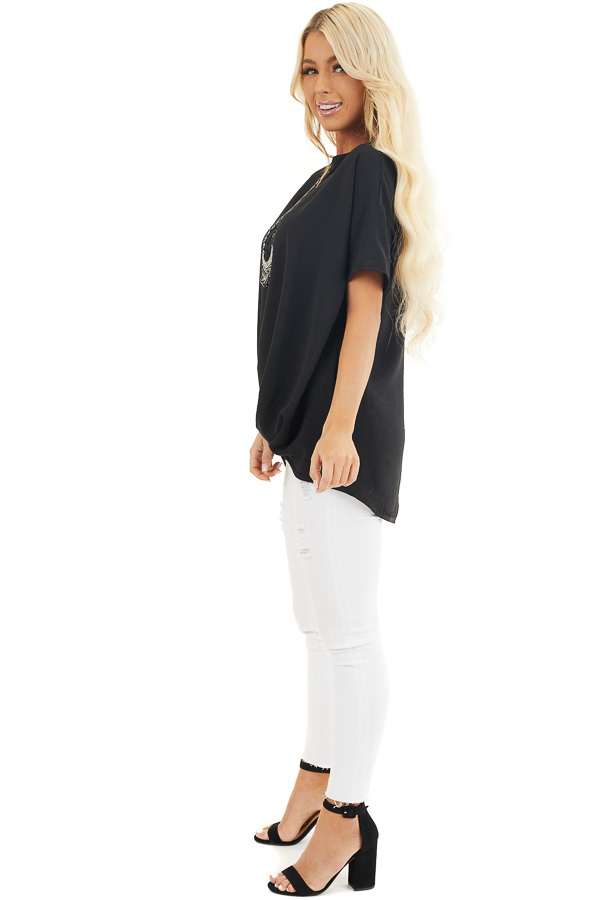 Black Short Sleeve V Neck Woven Top with Front Twist Detail side full body