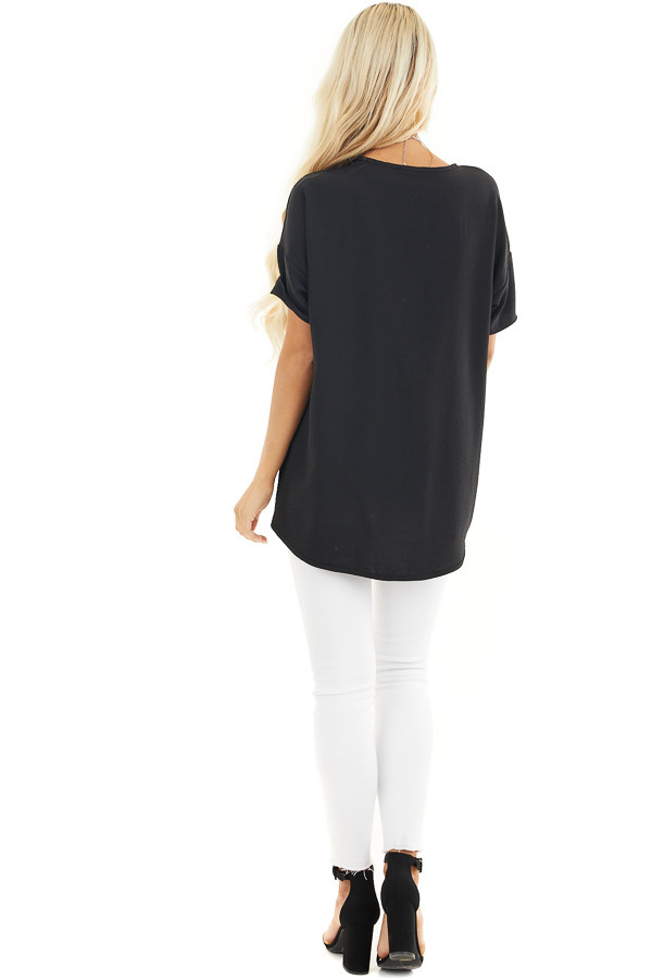 Black Short Sleeve V Neck Woven Top with Front Twist Detail back full body