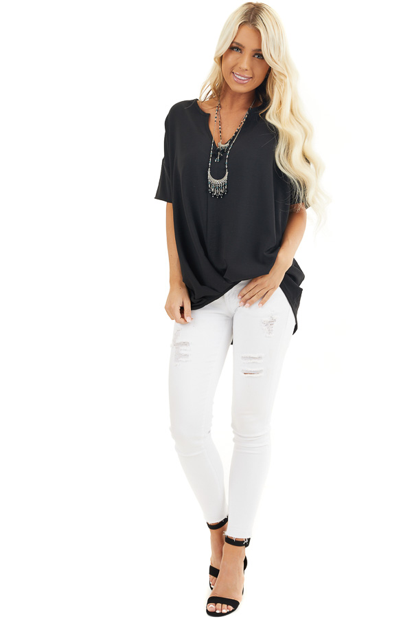 Black Short Sleeve V Neck Woven Top with Front Twist Detail front full body