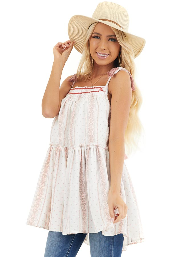 White and Dusty Pink Printed Sleeveless Tunic Dress front close up
