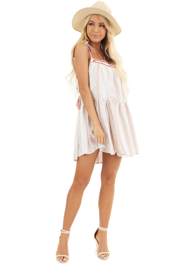 White and Dusty Pink Printed Sleeveless Tunic Dress front full body