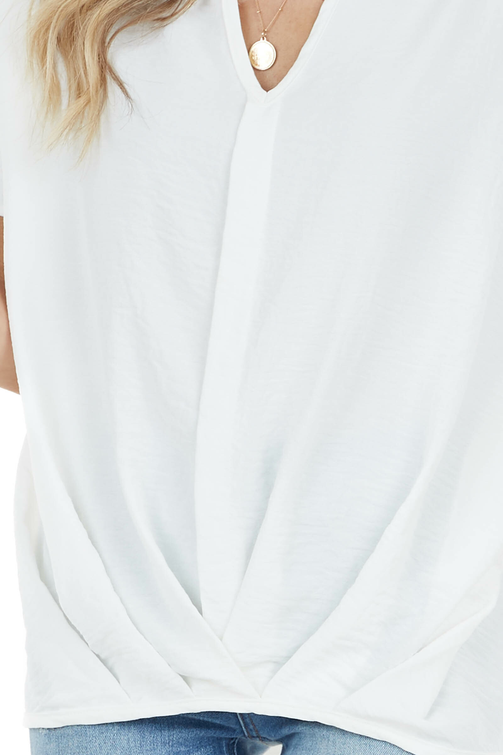 Ivory Short Sleeve V Neck Woven Top with Front Twist Detail