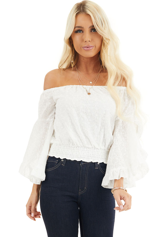 Ivory Eyelet Lace Off the Shoulder Crop Top with Smocking front close up