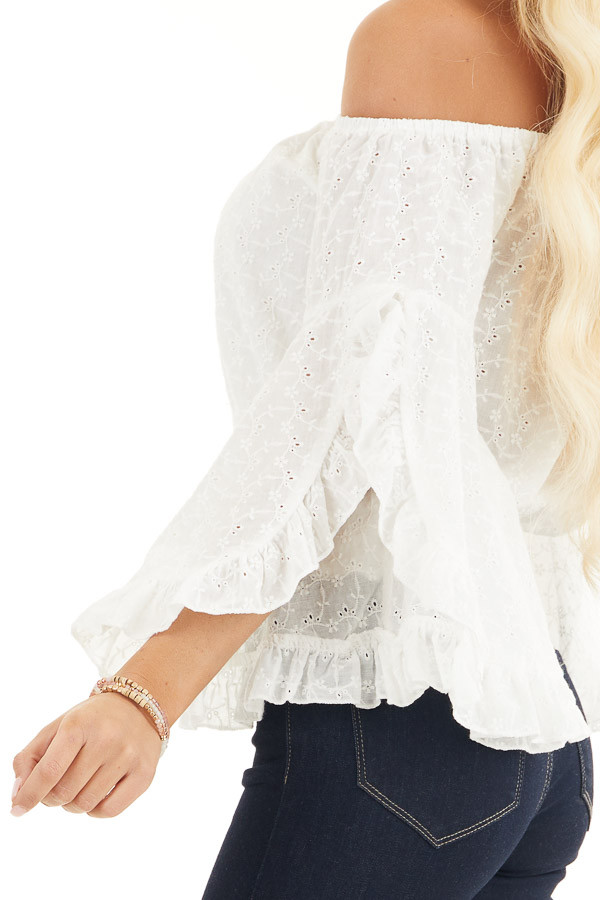 Ivory Eyelet Lace Off the Shoulder Crop Top with Smocking detail