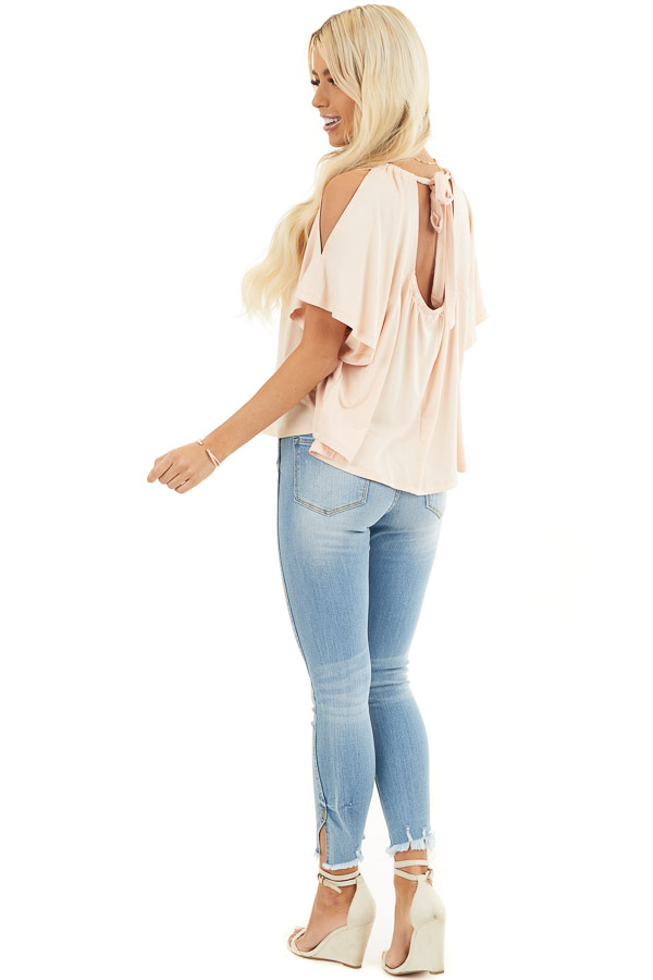 Pale Peach Flowy Cold Shoulder Top with Open Back and Tie side full body