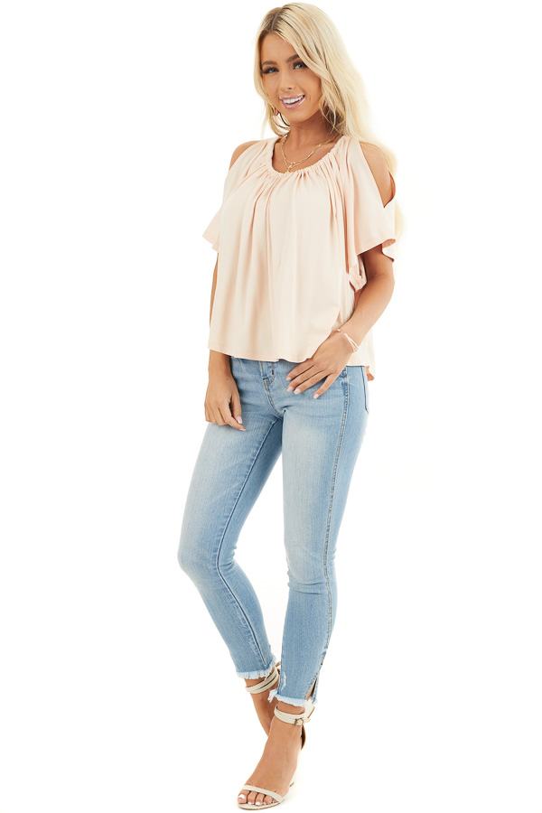 Pale Peach Flowy Cold Shoulder Top with Open Back and Tie front full body