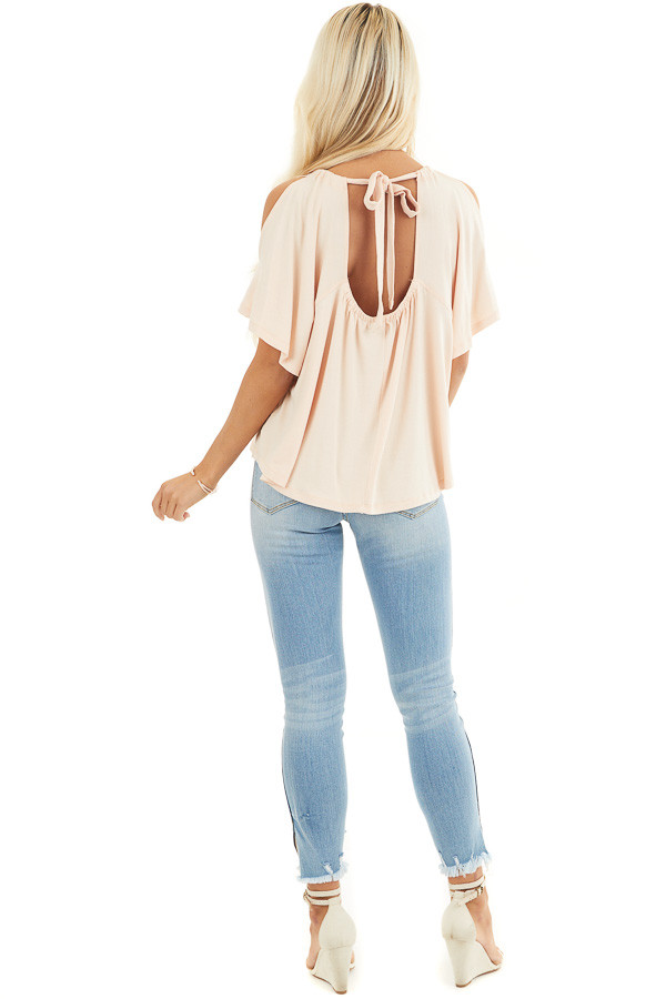 Pale Peach Flowy Cold Shoulder Top with Open Back and Tie back full body