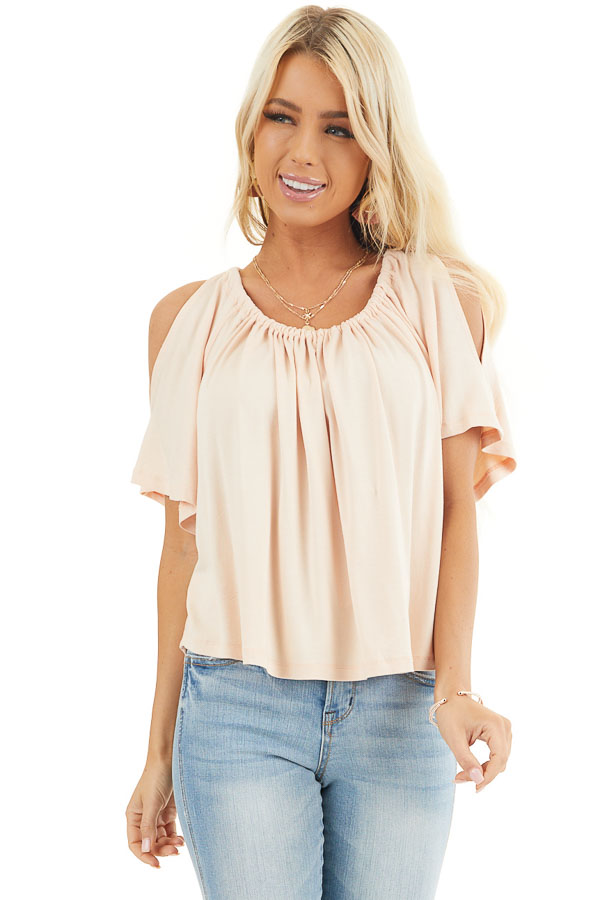 Pale Peach Flowy Cold Shoulder Top with Open Back and Tie front close up