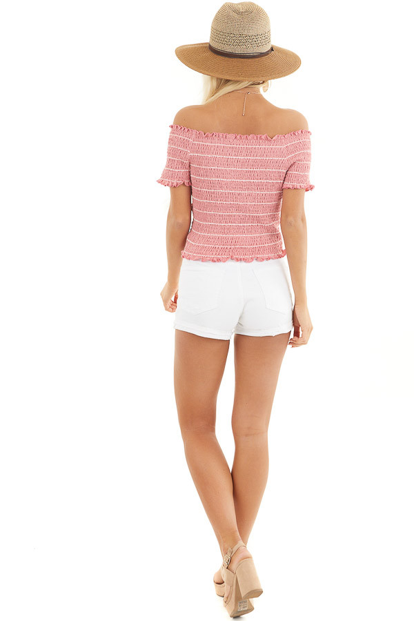 Bright Pink Asymmetrical Smocked Crop Top with Ruffles back full body
