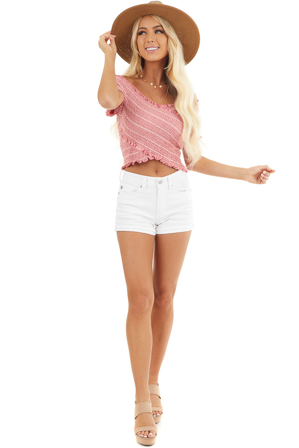 Bright Pink Asymmetrical Smocked Crop Top with Ruffles front full body