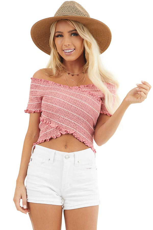 Bright Pink Asymmetrical Smocked Crop Top with Ruffles front close up