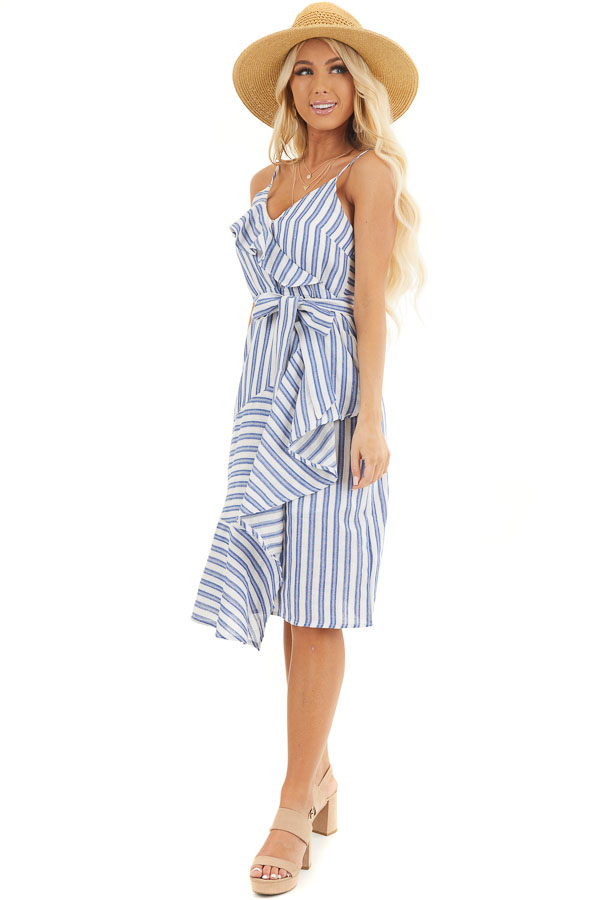 Ivory and Blue Striped Short Dress with Waist Tie Detail front full body