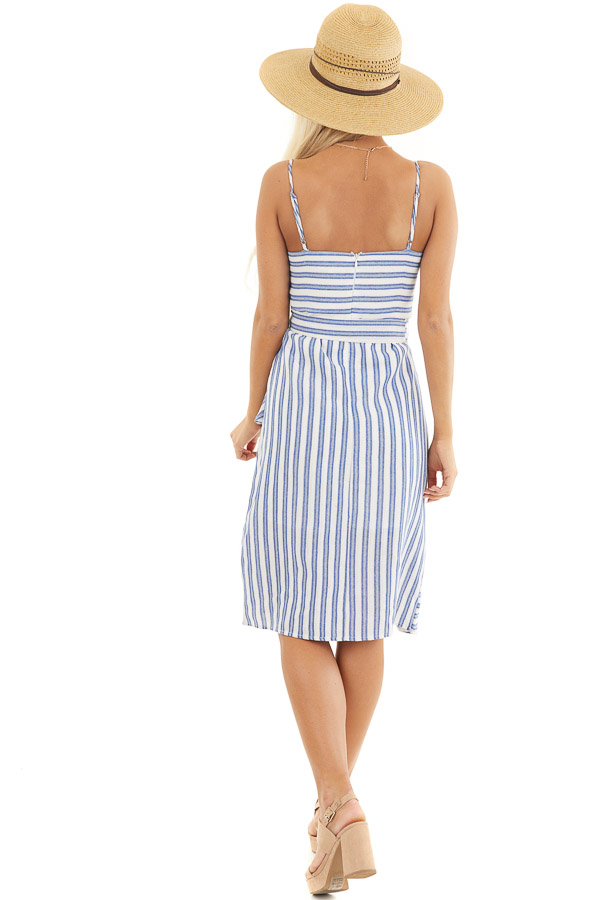 Ivory and Blue Striped Short Dress with Waist Tie Detail back full body