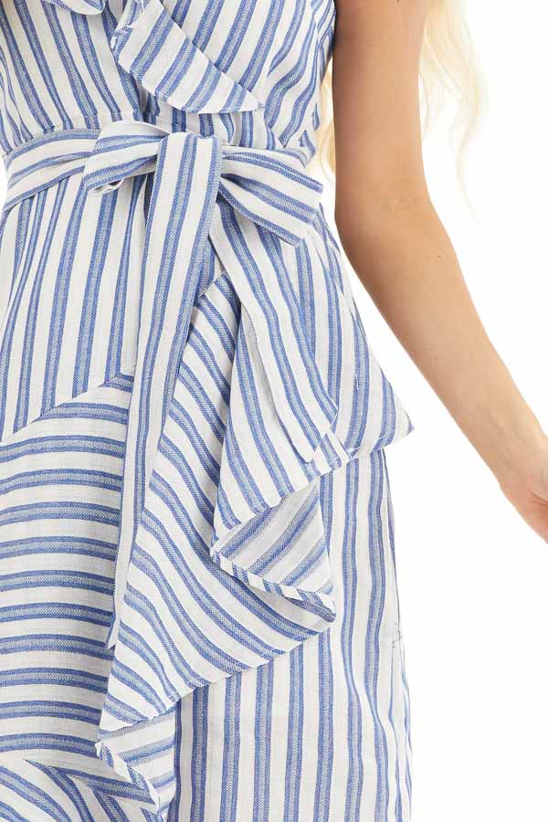 Ivory and Blue Striped Short Dress with Waist Tie Detail detail