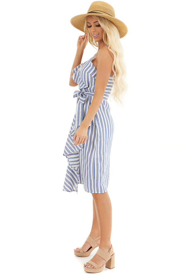 Ivory and Blue Striped Short Dress with Waist Tie Detail side full body