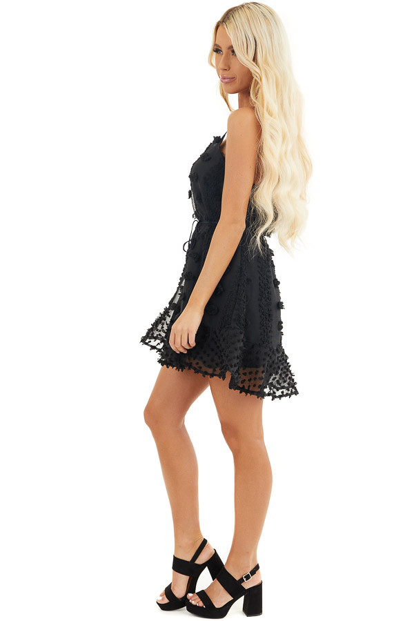 Black Textured Spaghetti Strap Mini Dress with Ruffled Hem side full body