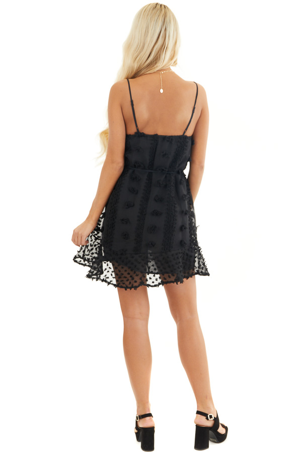 Black Textured Spaghetti Strap Mini Dress with Ruffled Hem back full body