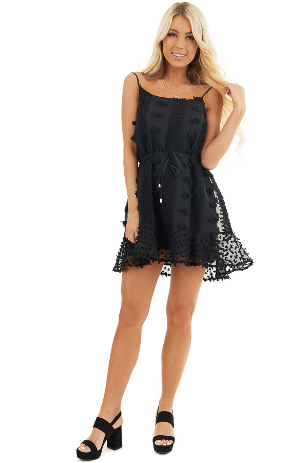 Black Textured Spaghetti Strap Mini Dress with Ruffled Hem front full body