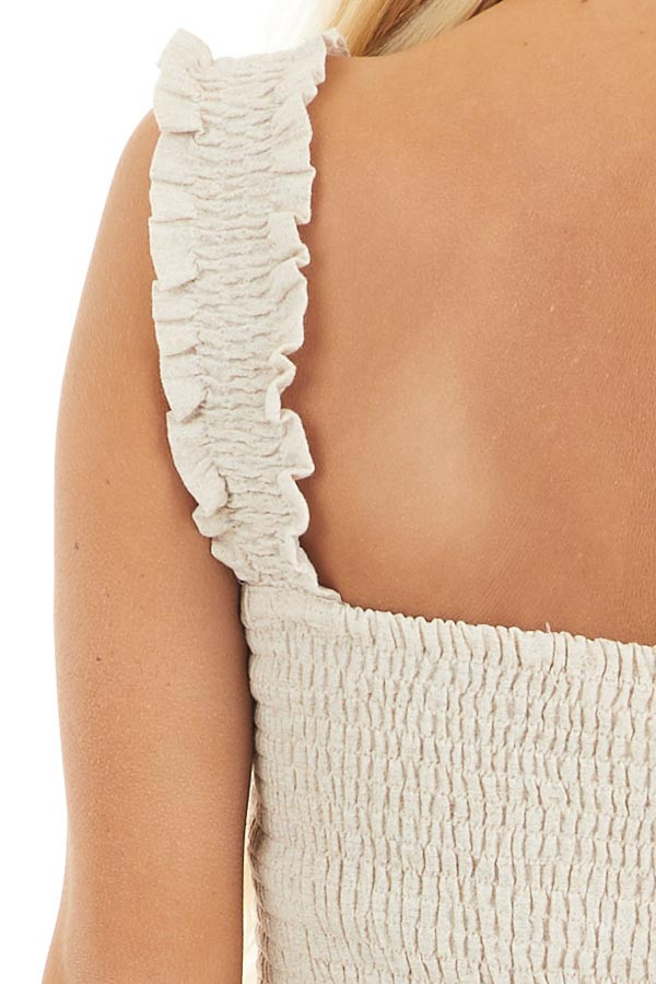 Oatmeal Sleeveless Drop Waist Woven Top with Smocked Bust detail