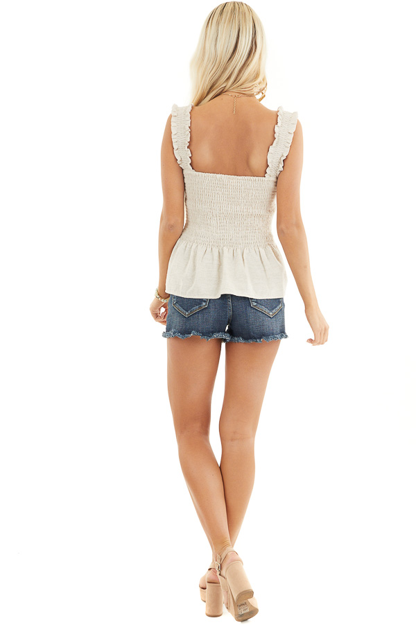 Oatmeal Sleeveless Drop Waist Woven Top with Smocked Bust back full body