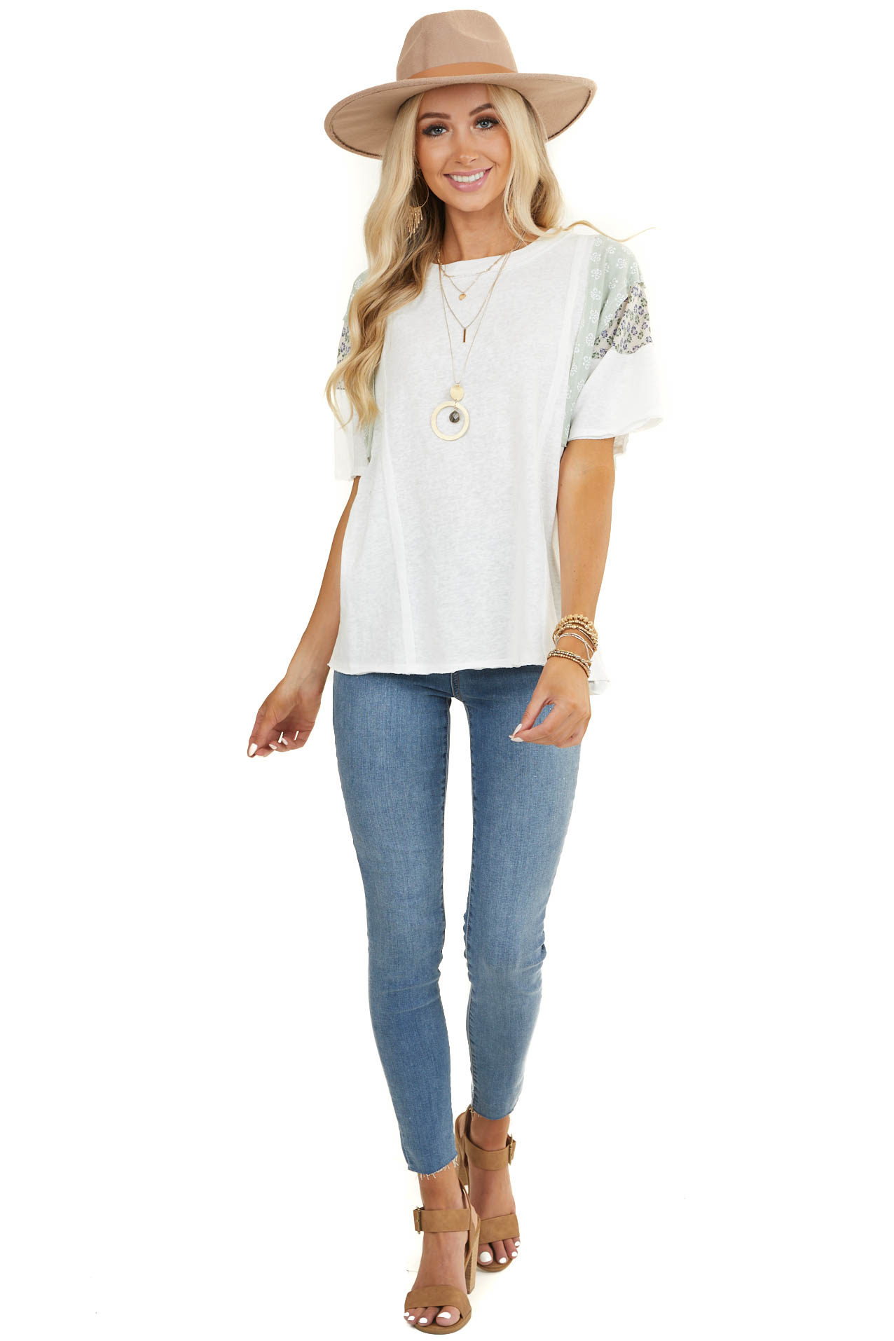 White Knit Tee Shirt with Multiprint Contrast Sleeves