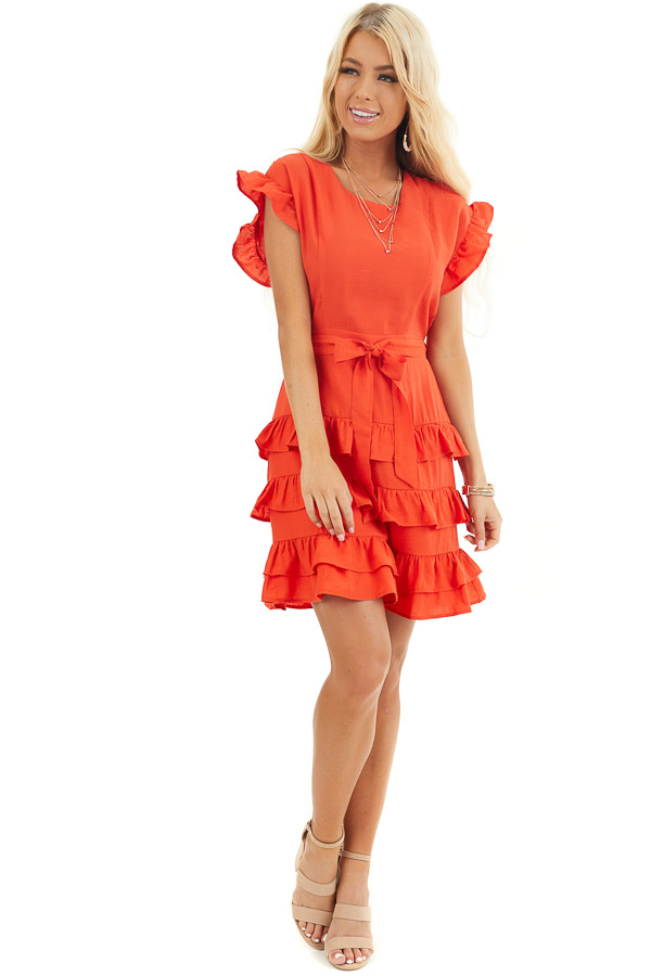 Tomato Red Short Dress with Tiered Ruffle Detail and Tie front full body