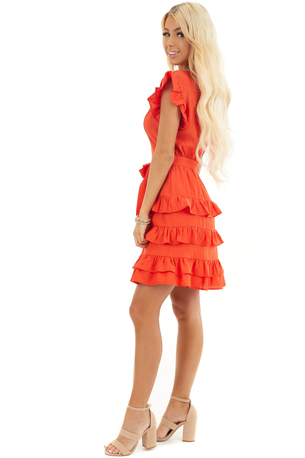 Tomato Red Short Dress with Tiered Ruffle Detail and Tie side full body