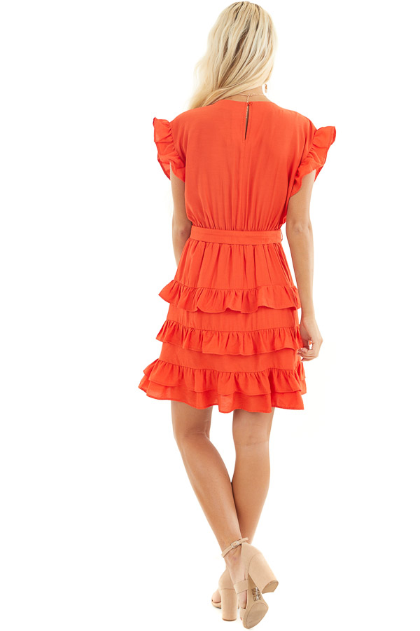 Tomato Red Short Dress with Tiered Ruffle Detail and Tie back full body